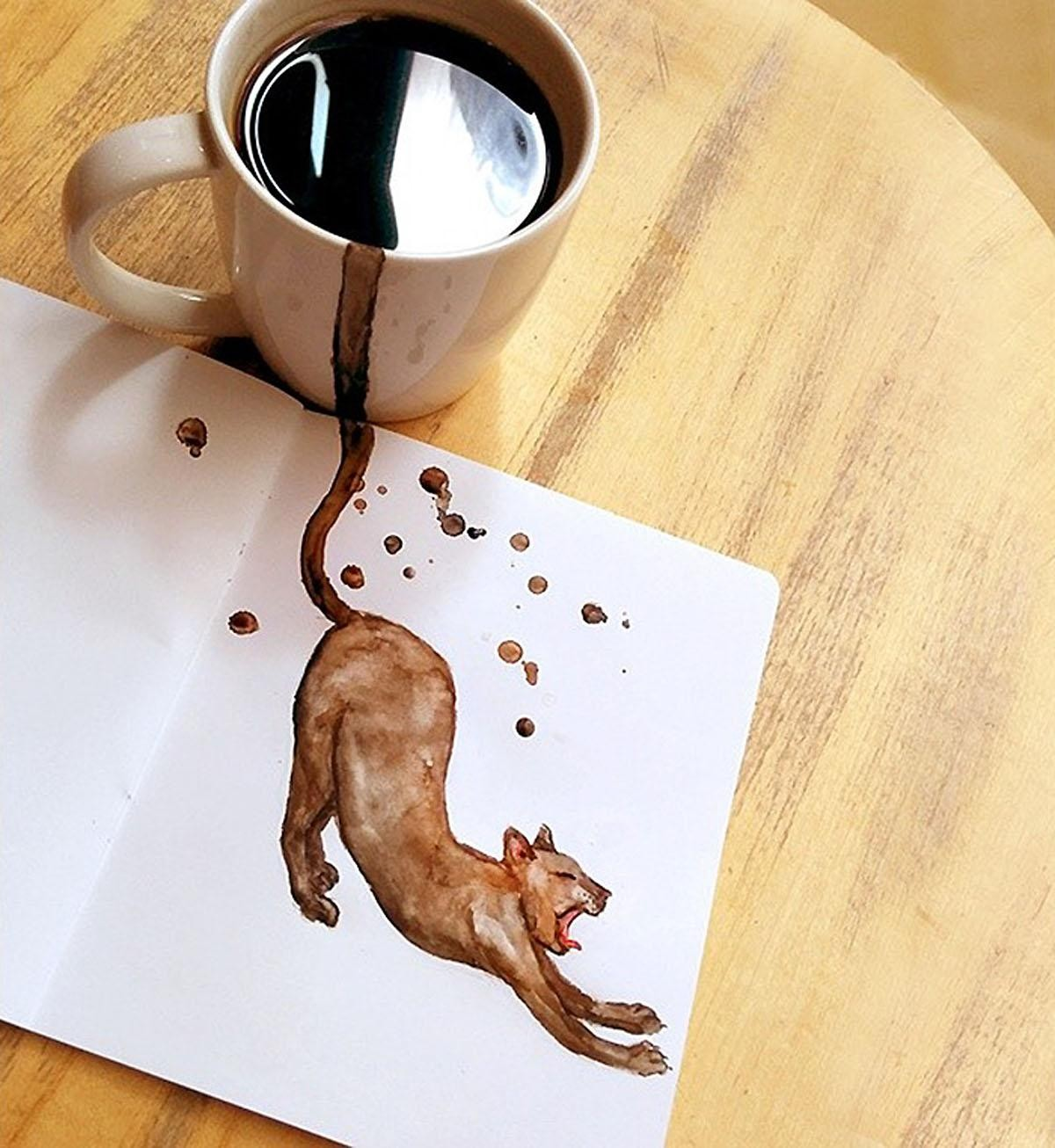 Cute Coffee-Coloured Cats Popping Out Of Cups
