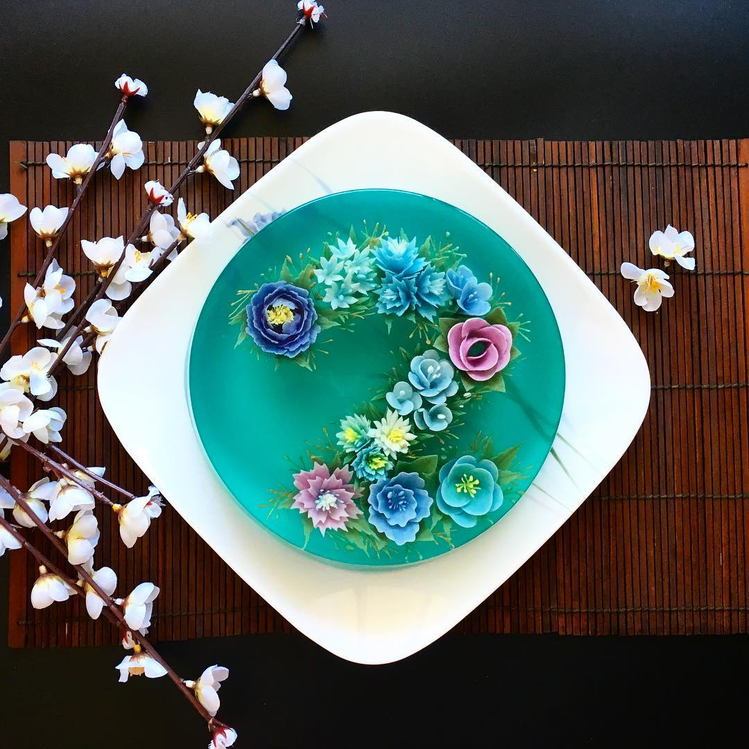 Amazing 3D Jelly Cakes with Flowers by Siew Heng Boon
