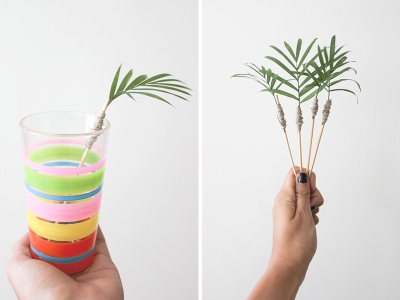 diy palm frond cocktail stirrers