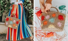 diy raffia decorated bag