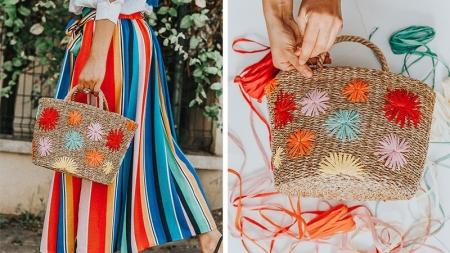 diy raffia decorated bag