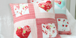 Make a Quilted Sweetheart Pillow Using Heart Quilt Squares