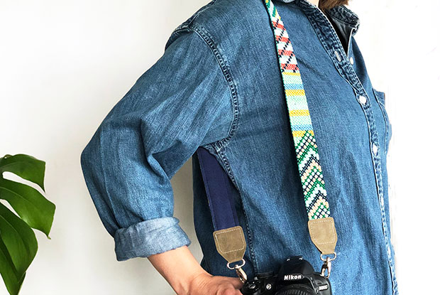 frankie exclusive diy: cross-stitch camera strap