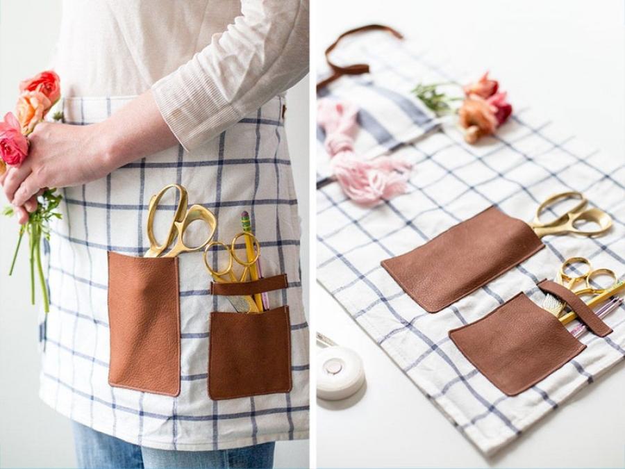 turn a tea towel into an apron