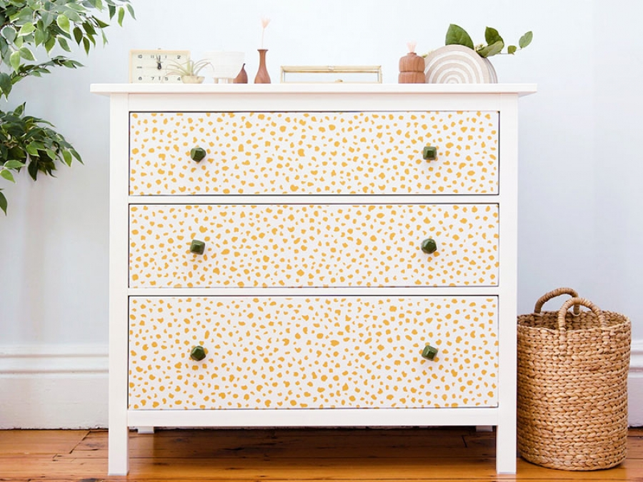 how to spruce up your dresser with wallpaper