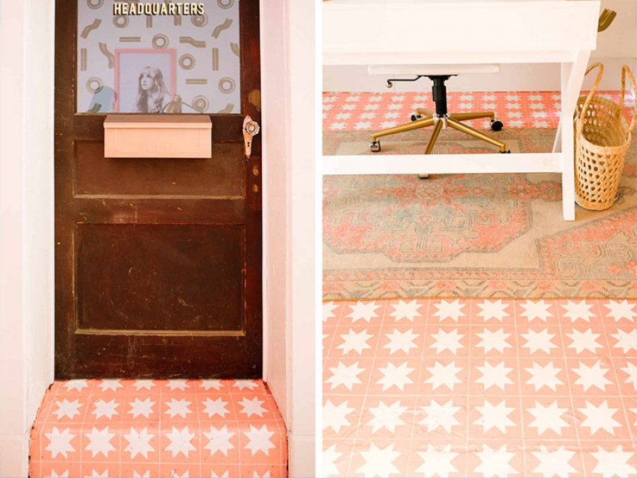 diy faux tile floor
