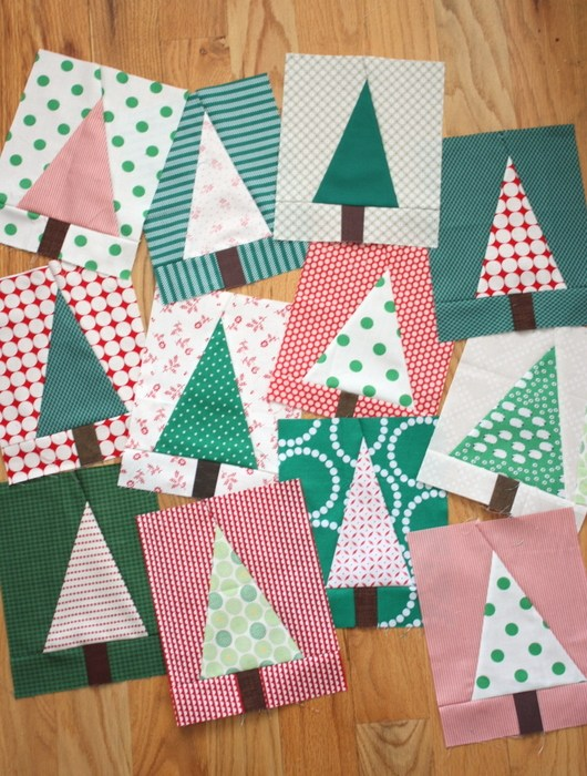 Modern Christmas Tree Quilt Block Pattern and Tutorial