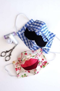 Crazy Lips and Moustache Face Mask Sewing Pattern and Tutorial