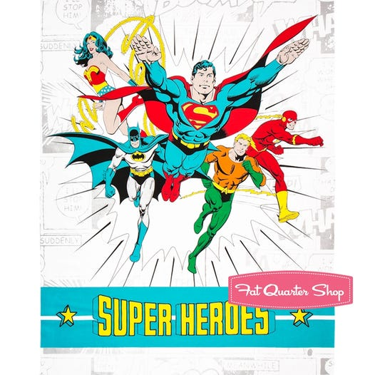 DC Comics White Super Heroes Quilt Panel