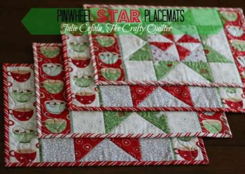 Christmas Pinwheel Quilted Placemats and Table Runner Pattern