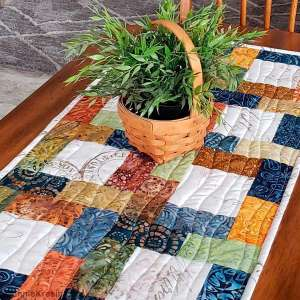 Free Geometric Quilted Batik Table Runner Pattern