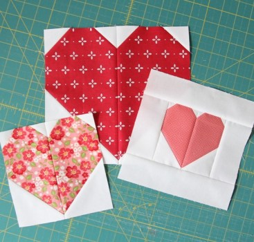 Heart Quilt Blocks in Various Sizes – Free Patterns
