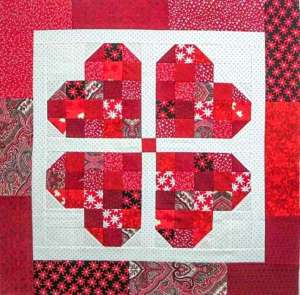 Four Hearts Quilted Table Topper – Free Pattern